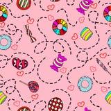 五颜六色和逗人喜爱的手拉的甜糖果葡萄酒样式无缝的样式传染媒介 库存图片
