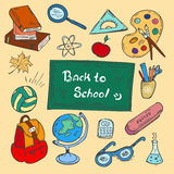 五颜六色回到学校手拉的乱画集合 免版税库存图片