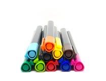 五颜六色在白色背景的笔 库存照片