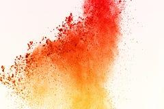 五颜六色在白色背景的粉末爆炸 五颜六色的尘土爆炸 绘Holi 五颜六色的云彩飞溅 免版税图库摄影