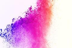 五颜六色在白色背景的粉末爆炸 五颜六色的尘土爆炸 绘Holi 五颜六色的云彩飞溅 图库摄影