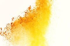 五颜六色在白色背景的粉末爆炸 五颜六色的尘土爆炸 绘Holi 五颜六色的云彩飞溅 免版税库存图片