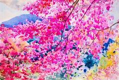 五颜六色在beautyful山的野生喜马拉雅樱桃 库存例证