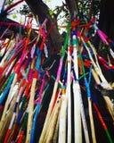 五颜六色在Songkran节日的泰国lanna传统 免版税库存照片