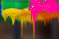 五颜六色塑料溶胶在打印机把柄的墨水棍子 免版税库存照片