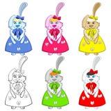 五颜六色复活节兔子的女孩 图库摄影