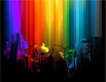 五颜六色抽象的都市风景 免版税库存照片