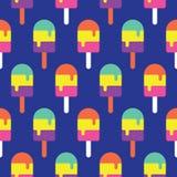 五颜六色无缝的冰棍儿的样式,糖果传染媒介 免版税库存照片
