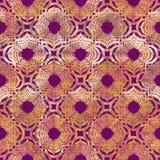 五颜六色明亮的卷曲东部几何形状摘要的难看的东西飞溅纹理,在金黄桃红色的水彩无缝的样式 库存例证