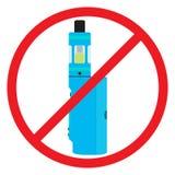 五颜六色没有vaping的标志 禁令旅团灼烧的耕种熄灭火消防队员开放禁止冲的符号对木头 禁烟区 库存图片