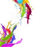五颜六色油漆飞溅 免版税库存照片