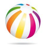 五颜六色球的海滩 暑假标志 库存图片