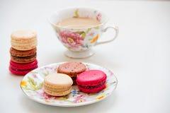 五颜六色甜点法国点心的蛋白杏仁饼干 免版税库存图片