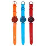 五颜六色的三块手表 库存图片