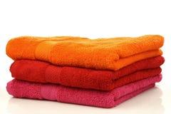 五颜六色的三块毛巾 库存照片
