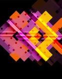 五颜六色的三角和箭头在黑暗的背景 皇族释放例证