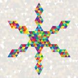 五颜六色的三角圣诞节明亮的庆祝雪花  免版税库存照片
