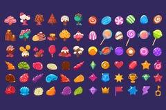 五颜六色的不同的形状,甜糖果土地逗人喜爱的幻想元素,甜点,糖果用户果冻光滑的形象  皇族释放例证