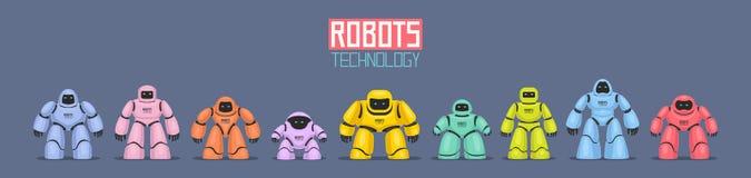 五颜六色的不同的机器人背景  皇族释放例证