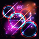 五颜六色的与光的圈子现代抽象构成 库存图片