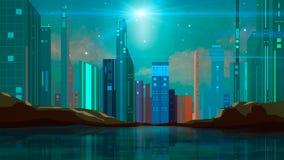 五颜六色的与岩石、星和反射的科学幻想小说现代未来城市例证在水中 向量例证