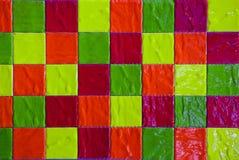 五颜六色的与正方形的瓦片无缝的样式 免版税库存照片