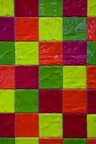 五颜六色的与正方形的瓦片无缝的样式 库存照片