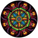 五颜六色的与花的坛场圆装饰在种族样式的装饰品和叶子导航例证 库存照片