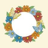 五颜六色的与蝴蝶的圈子花卉花圈 库存例证