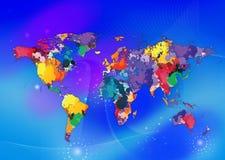 五颜六色的世界地图 免版税库存照片