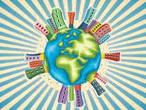 五颜六色的世界天传染媒介例证 免版税库存照片