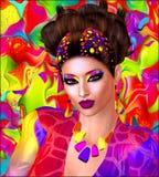 五颜六色的丝带、漩涡、小珠和构成装饰妇女的面孔关闭的这个现代数字式艺术图象  免版税库存照片