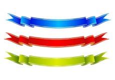 五颜六色的丝带横幅 蓝色,红色和绿色纸卷 也corel凹道例证向量 库存例证