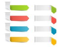 五颜六色的丝带箭头模板集合 也corel凹道例证向量 库存照片