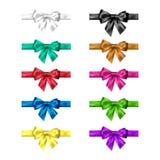 五颜六色的丝绸弓设置与丝带 典雅的弓的装饰汇集 弓设计不同的颜色 向量 皇族释放例证