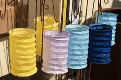 五颜六色的中文报纸灯笼 免版税图库摄影