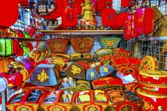 五颜六色的中文报纸灯笼Panjuan跳蚤市场北京池氏 库存照片