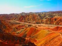 五颜六色的丹霞地势,张掖,甘肃,中国 图库摄影