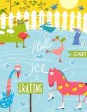 五颜六色的乐趣动画片农厂滑冰的动物为 免版税图库摄影