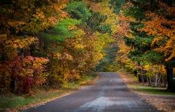 五颜六色的乡下公路在10月 库存图片