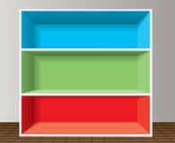 五颜六色的书架倒空 向量例证