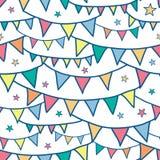 五颜六色的乱画旗布下垂无缝的样式 免版税库存图片