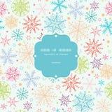 五颜六色的乱画雪花框架无缝的样式 免版税库存照片
