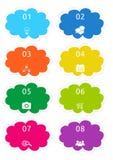 五颜六色的云彩形状按钮 库存照片