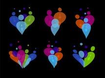 五颜六色的人党透明泡影传染媒介商标SiIhouetes在黑背景设置了 被隔绝的抽象心脏  图库摄影
