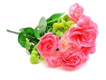 五颜六色的人造花,隔绝在白色背景 免版税库存照片