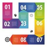 五颜六色的企业传染媒介纸进展步模板 向量 免版税库存图片