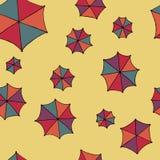 五颜六色的伞传染媒介 无缝的样式背景 库存照片