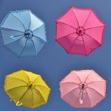 五颜六色的伞在天空下 库存图片