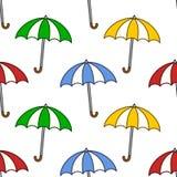 五颜六色的伞无缝的样式 免版税库存照片